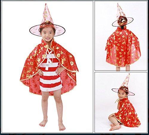Westeng Halloween Party Kostüme Sterne Hexe Umhang mit Phantasie Hut Halloween Kleid Set (Sterne Hexe Hut)