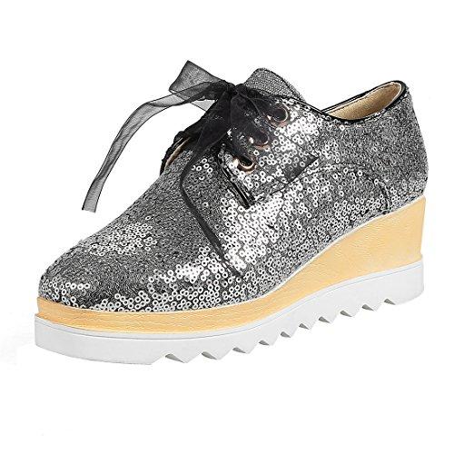 UH Femmes Chaussures a Talon Moyen de Compensees DE 6 cm avec Lacet de Lace Brillant Retro Pour Journee Vert