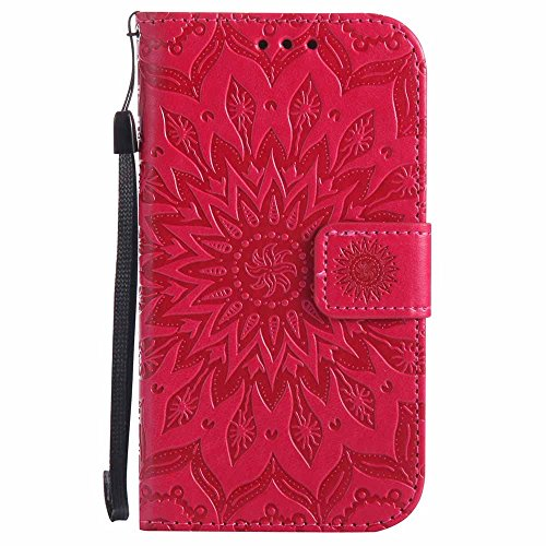 Custodia Galaxy S4, Dfly Premium PU Goffratura Mandala Design Pelle Chiusura Magnetica Protettiva Portafoglio Custodia Super Sottile Flip Cover per Samsung Galaxy S4 i9500, Rosso