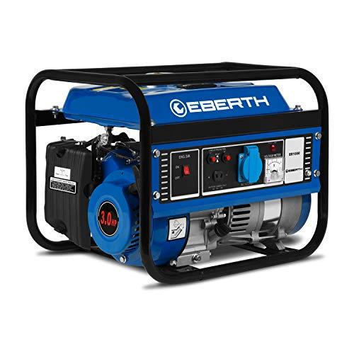 Eberth 1000 w generatore di corrente (3 cv motore a benzina a 4 tempi, monofase, 1x 230v, 1x 12v, avviamento a strappo, regolatore di volt automatico avr, protezione da mancanza olio, voltametro)