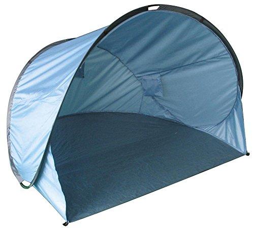 Jardinion Strandmuschel blau, Wurfzelt f. 2 Personen Wind UV-Schutz, Urlaub Garten Outdoor