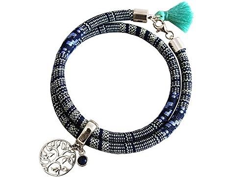 Gemshine - Bracelet Enrouleur - Argent Sterling 925 - Arbre de Vie - AZTÉQUE - Saphir - Bleu