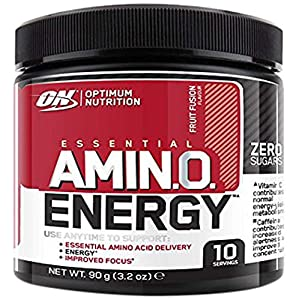 51XNMD9q3aL. SS300  - Optimum Nutrition Amino Energy Pre Workout Powder Keto Friendly with Beta Alanine, Caffeine, Amino Acids and Vitamin C, Fruit Fusion, 10 Servings, 90 g