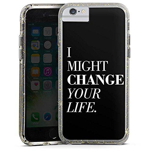 Apple iPhone 6 Bumper Hülle Bumper Case Glitzer Hülle Sayings Phrases Sprüche Bumper Case Glitzer gold