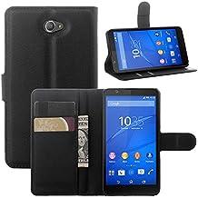 Guran® Funda de Cuero Para Sony Xperia E4 Smartphone Tirón de la Cubierta de la Función de Ranura Tarjetas y Efectivo Caso