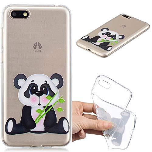 Nadoli Transparent Hülle für Huawei Y5 2018,Bambus Panda Malerei Muster Crystal Kirstall Ultra Dünn Durchsichtige Schutzhülle Bumper für Huawei Y5 2018,Bambus Panda