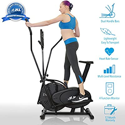 JLL 2-in-1 Elliptical Cross Trainer Exercise Bike CT100, Fitness Cardio Workout Machine-With Seat + Pulse Heart Rate Sensors, Console Display, 5-level seat adjust and 4-level handlebar adjust. Black colour by JLL