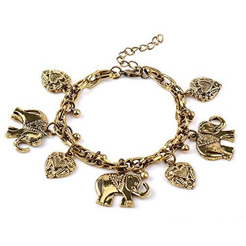 HHNNSZK Pulsera Fashion Peach Heart Chain Clavicle Love Oro Plata Color Pulseras...
