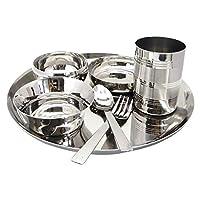 WhopperIndia Stainless Steel 7pc Dinner Set Thali Set Plate Spoon Fork Glass Bowl - 28cm Set of 2