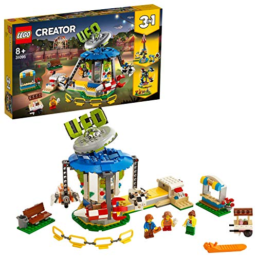 LEGO 31095 Creator 3in1 Fairground Carousel Set, Fair Fun Adventures, Space Themed Model Best Price and Cheapest