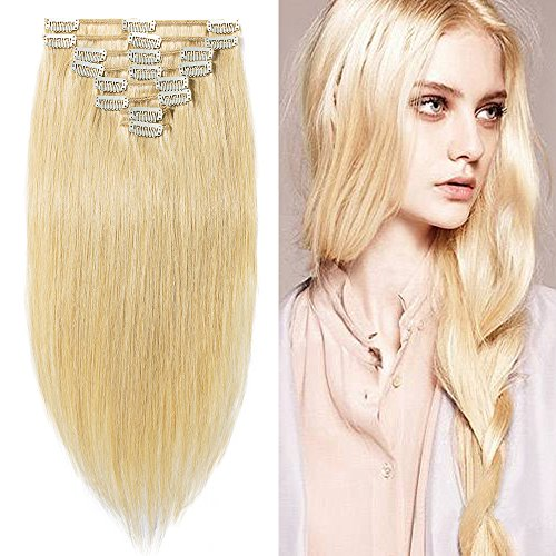 20cm-60cm extension capelli veri clip biondi 100% remy human hair tessitura con clips full head lisci lunghi (20cm-65g,#24 biondo chiaro)