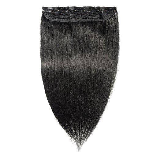 Clip in extensions echthaar Haarverlängerung 100% Remy Echthaar - 1 Stück (55cm-55g #1 tiefschwarz)