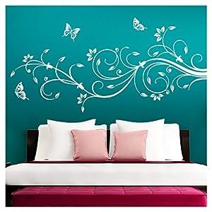 Grandora Wandtattoo XXL Blumenranken Schmetterlinge Blumen I weiß (BxH) 160 x 69 cm I Schlafzimmer Liebe Flur Wohnzimmer modern Aufkleber Wandaufkleber W1073