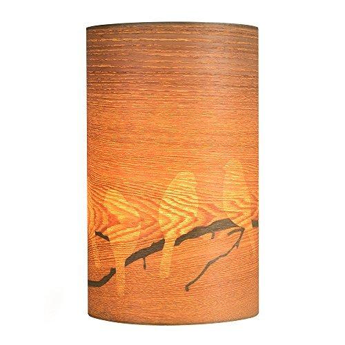 Modern Bird And Branch Silhouette Wood Veneer Effect Table Lamp