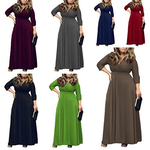 Smile YKK Femme Maxi Col V Foncé Robe Manche 3/4 Uni Vogue Vert
