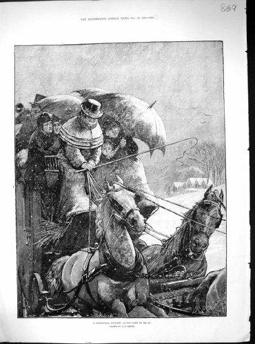Stampa 1881 dell'oggetto d'antiquariato di trasporto di vettura del trasporto dei cavalli della casa di viaggio di natale
