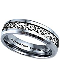 Mens/Unisex Ring - 6mm Silver Celtic Dragon Inlay TUNGSTEN Carbide Wedding Engagement Band Ring