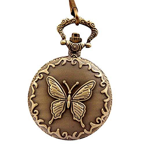 Lamdoo Vintage Taschenuhr Bronze Schmetterling Geschnitzte Blumen Runde Abdeckung Uhren Anhänger Halskette Schmuck Charme Geschenke Frauen Exquisite Mode Dekoration -