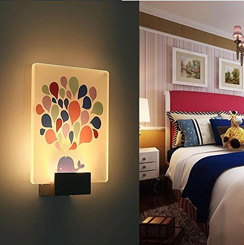 LED Wandleuchte Acryl Wandlampe Aluminum Warmweiß 3000K Wandlicht Nachtlicht Kinderlampe süße Kinderleuchte Flurlampe für Kinderzimmer Wohnzimmer Schlafzimmer (Wal)