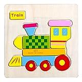Axibo Mode 3D Holz Tier Zug Puzzle Baby-Beneficial Intelligenz Holzspielzeug Kinder von 1 bis 6 Jahre alt Geburtstagsgeschenk