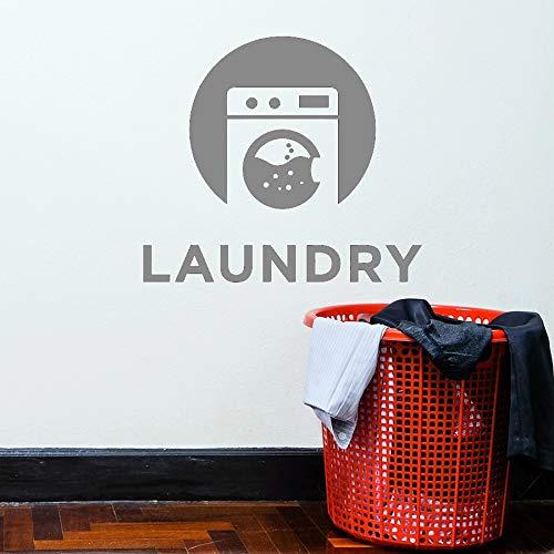 Einfache Waschmaschine Logo Waschküche Worte Chemische Reinigung Waschen Bad Innendekoration Vinyl Wandaufkleber Abziehbilder 57 * 64cm J