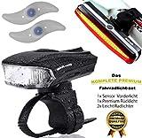 MAK-wifi Premium Wiederaufladbare LED Fahrradlampe Set, Wasserdicht LED Frontlicht und Rücklicht Für Fahrrad ,2 USB-Kabel Fahrradbeleuchtung, StVZO Zugelassen Fahrrad licht Akku LED Fahrradlicht Set + 2 Rad licht