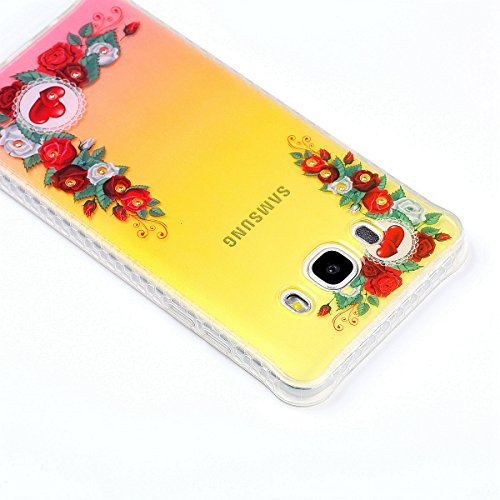 Coque Samsung Galaxy J5 2016 Glitter, Samsung Galaxy J5 2016 Coque Brillante, SainCat Ultra Slim TPU Silicone Case pour Samsung Galaxy J5 2016, Glitter Bling Diamante Strass Anti-Scratch Soft Gel 3D H Red Rose