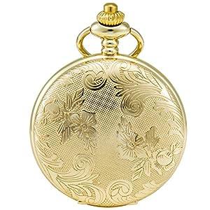 SEWOR Blumen Fall Shell Zifferblatt Japanisches Quarz-Uhrwerk Taschenuhr mit Fashion Double Kette (Metall & Leder)