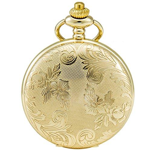SEWOR Blumen Fall Shell Zifferblatt Japanisches Quarz-Uhrwerk Taschenuhr mit Fashion Double Kette (Metall & Leder) (Gold) -