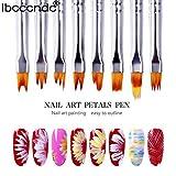 aiyvi☛ 8 pcs Pinceaux à ongles en gel UV Manche argenté Nail Art Pen
