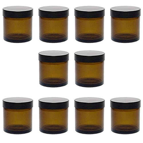Viva-Haushaltswaren 10 kleine Glastiegel 60ml / Salbentiegel / Cremetiegel aus Braunglas inkl. Etiketten