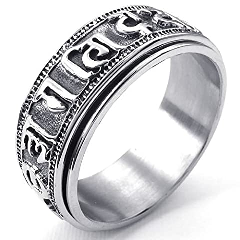 Stainless Steel Rings, Men's Bands Tibet Padme Hum Spinner Om Mani Black Silver Size X 1/2 Epinki