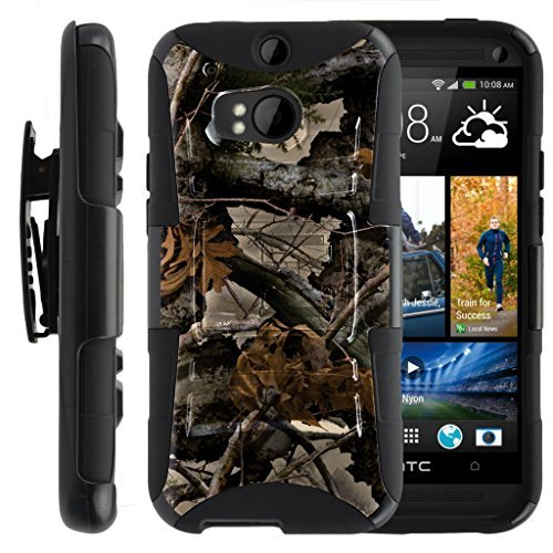 TurtleArmor Schutzhülle für HTC One M8 (stoßfest), Hybrid-Schutzhülle mit Gürtelclip und Ständer, Tree Leaves Camouflage