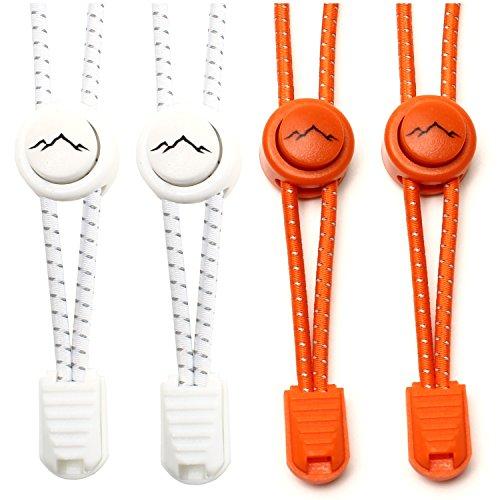gipfelsport Elastische Schnürsenkel - Gummi Schnellschnürsystem ohne Binden | für Kinder, Herren, Damen I 2X Paar: weiß/orange