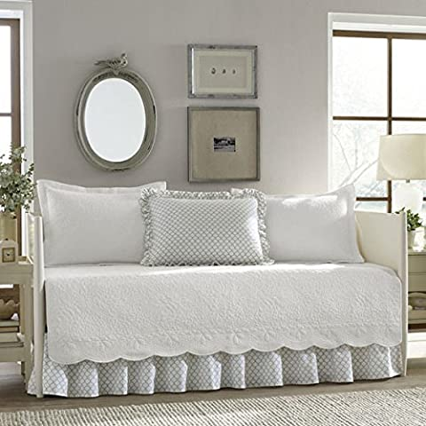 Stone Cottage Traditional Coastal Trellis White 5-Piece Daybed Cover Set, Grey/White by Stone Cottage