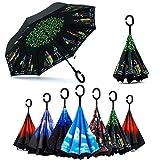 Lady of Luck Reverse Regenschirm, Innovative Schirme Double Layer Winddicht Regenschirm Inverted Stockschirme mit C Griff für Reisen und Auto Outdoor (Reverse Regenschirm - F)