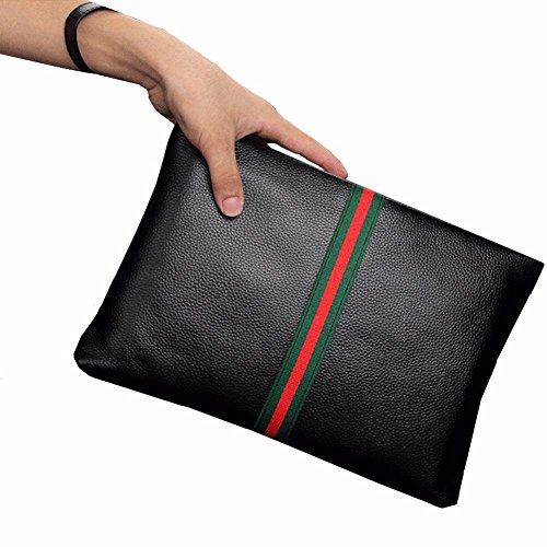 Everdoss Herren Handgelenkstaschen Leder Unterarmtasche Aktentasche Multifunktionale Große Kapazität Vintage