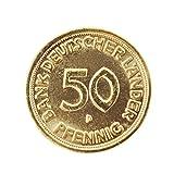 Echte 50 Pfennig-Münze von 1966 vergoldet zum Geburtstag im Schwebe-Rahmen mit Ihrer persönlichen Gravur