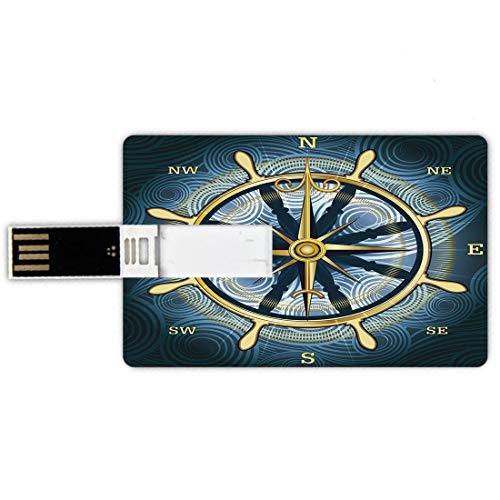 16GB Chiavette USB a forma di carta di credito Bussola Memory Card stile carta di credito Bussola d'oro di navigazione con rosa dei venti e timone su uno sfondo ondulato decorativo marittimo,giallo bl