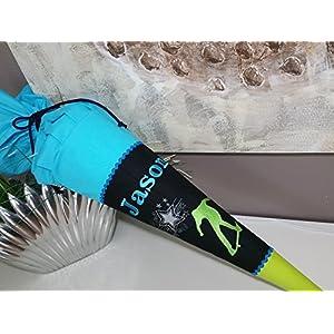 Skater schwarz-türkis-grün Stoff + Papprohling + als Kissen verwendbar