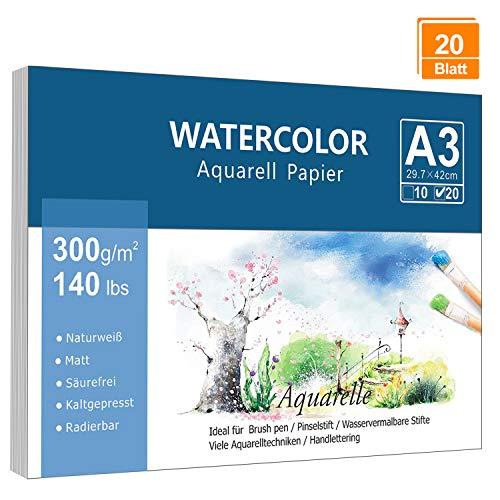 Premium Aquarellpapier (A3, 300 g/m², 20 Blatt), Lelengder Aquarellblock Galtt Watercolor Paper, Strukturiert & Matt Aquarell Papier für Aquarellmalerei Wasserfarben Gouache Acryl & Aquarelltechniken