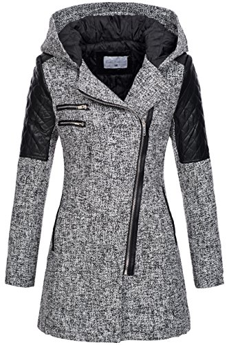 Peak Time Damen Übergangs-Jacke Woll-Mantel Trenchcoat V-1507 in Weiß Gr. 44