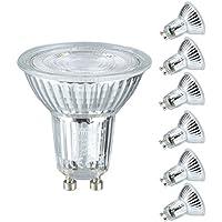 GU10 LED Lampe, Lampwin 6er LED Glühbirne 5W ersetzt 50W Halogenlampen, MR16 500 Lumen Kaltweiß 6000K, 40° Abstrahlwinkel LED Reflektorlampe Leuchtmittel, AC 100-240V.