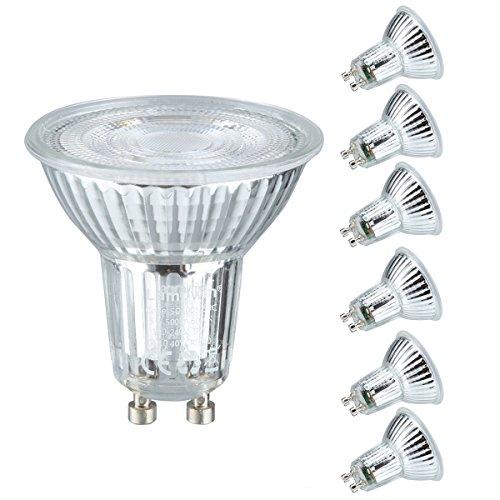 Lampwin GU10 LED Bulbs 6 Pack 5W(50W Equivalent)Halogen Bulbs AC 100-240V Spotlight with 500 Lumen 6000K Daylight 40°Beam Angle (Cool White)
