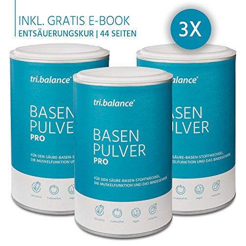 tri.balance Basenpulver Pro, 300g, 3er Pack, inkl. E-Book Entsäuerungskur (Organische Elektrolyte)