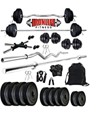IRONLIFE FITNESS Leather 30 Kg Weight Plates, 5 and 3 ft Rod, 2 D.Rods Home Gym Equipments Dumbbell Set