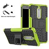 LiuShan Nokia 5 Hülle, Dual Layer Hybrid Handyhülle Drop Resistance Handys Schutz Hülle mit Ständer für Nokia 5 Smartphone (mit 4in1 Geschenk verpackt),Grüne