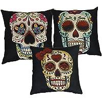 Luxbon set di 3pezzi giorno dei morti Messico Fiesta kitsch Candy Skull cuscino nero resistente cotone lino tiro federa Home Decor per Halloween 45,7x 45,7cm 45x 45cm