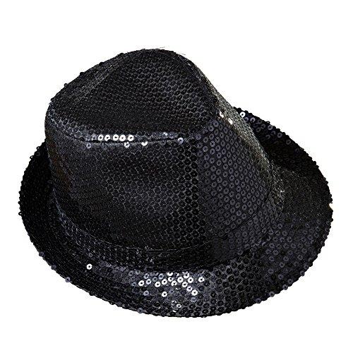Erwachsene Black Sequin Fedora Hut - Widmann -