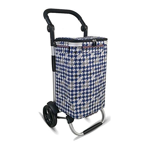 Einkaufswagen Trolley Trolley Supermarkt Push Trolley Einkaufswagen Aluminium Klapprad (Color : Blue, Size : 92.5 * 35 * 45cm)